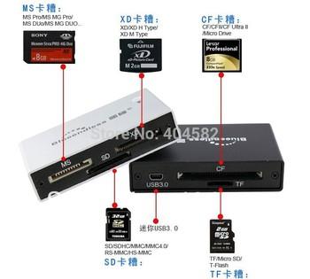 Blueendless High Speed USB 3.0 SD / MS / XD / CF / TF Card Reader - Silver +Free shipping