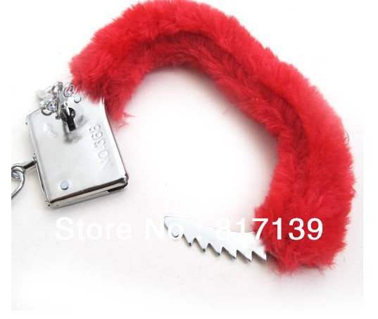 @New Arrival Creative Sexy Soft Furry Steel Fuzzy Fur Wrist Handcuffs Dress Valentines love Gift Toy 1pair Free Shipping(China (Mainland))