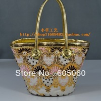 Free shipping New arrival 2013 South Korea fashionable straw Bohemia embroidery shoulder bag the cane bag lady handbag