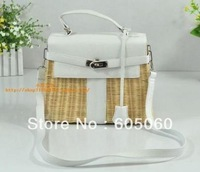 Free shipping 2013 Magazine rattan bag straw bag rattan bag messenger bag padlock ladder women's handbag beach