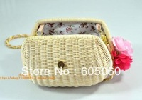 Free shipping New Japan vivi2013 hand-made  bamboo rattan cane makes up bag straw bales oblique cross bow flower female bag