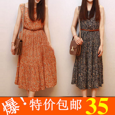 2013 summer female elegant pleated vintage one-piece dress fresh floral print full dress(China (Mainland))