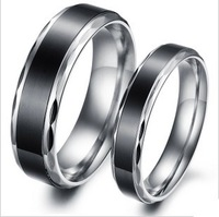 1 Pr Stainless Steel Simple Generous Couple Lovr Promise Ring