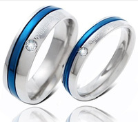 One Pr 192 Popular Fashion Jewelry Shiny Titanium Blue Love Couple Promise Ring