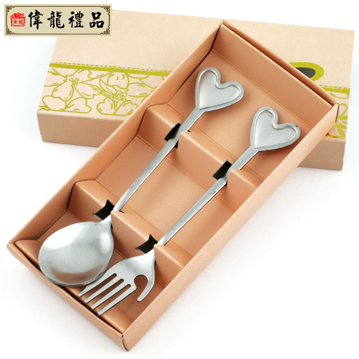 Chinese style heart spoon fork twinset unique dinnerware set personalized small gift(China (Mainland))