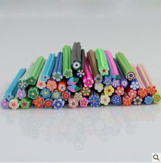 50pcs/lot canes polymer clay nail art Stickers cane fruit and flower Cutted free shopping + free Blade(China (Mainland))