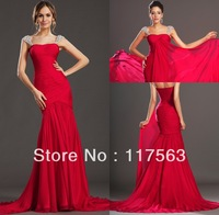 Free shipping high quality hot red a line beaded chiffon court train evening dress gown WL073