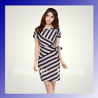 Women 2013 new fashion brand polyester splicing chiffon short sleeve apricot dress stripes lady summer dresses