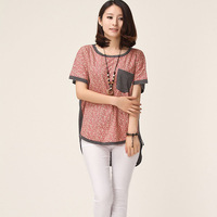 Women's dovetail type loose stripe flower top mm patchwork batwing sleeve short-sleeve T-shirt female