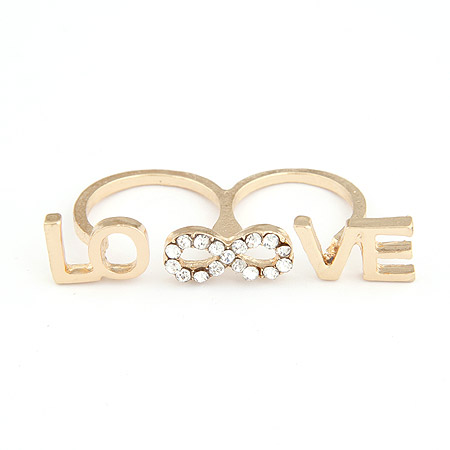 Classic personality love diamond open ring finger ring(China (Mainland))