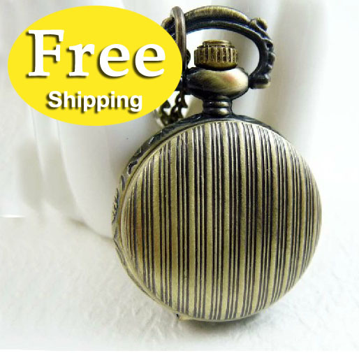 free shipping new watch 2013 stripe vintage pendant watch necklace Gift 5pcs/lot the mixed batch pocket watch,GB147(China (Mainland))
