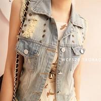 Free ship  fashion CUTE casual  collar special rivet sleeveless light blue denim vest jean jacket jeans women coat.TB-28