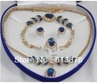 Beautiful blue jade bracelet earring ring necklace pendant