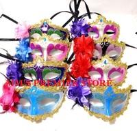 Free EMS+50pcs/lot Party Dancing Show Masks Halloween Princess Coloured Drawing Rose Party Masks