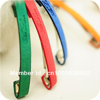 Suede simple English letters hairpin Barrette side folder Korean candy color genuine hair accessories