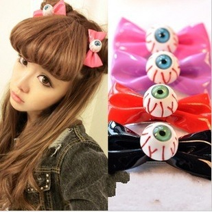 Minimum Order is $15 G238 HARAJUKU eyes bow hairpin side-knotted clip bangs clip hair rope headband hair accessory(Hong Kong)