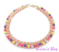 Free shipping 2013 New Arrive Colorful Rhinestone Necklace Gold Chunky Necklace for Women AN012