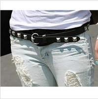 Inlaying p54 rhombus ring buckle small rivet strap belt female 53g decoration