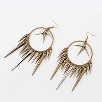 B-0013 fashion vintage bronze bullet chili mix match long rivet female earrings (can mixture order)