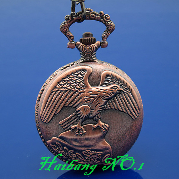 2 pcs/lot Antique Style Classic Copper Eagle Embossment Cover Men's Necklace Quartz Pocket Watch L125(China (Mainland))