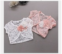 (5pcs/1lot free shipping)t new summer kid's lace coat ,girl flower capelet ,children lace Shawl
