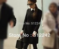 New 2014 spring autumn fashion women brief vintage lapel temperament black one-piece dress Victoria Beckham free shipping  xhf