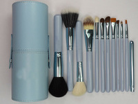 hot selling New Blue Professional Makeup Brush Set 12 pcs Kit w/ Leather Cup Holder Case kit