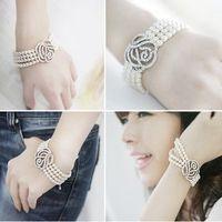 C36 Full Rhinestone Rose Romantic Noble Girls Multi-layer Pearl Bracelet for Women 18g Free Shipping