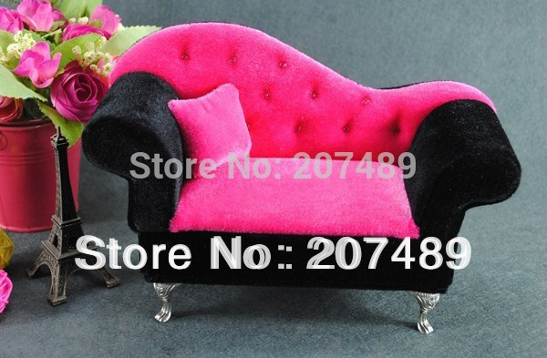 mini furniture sofa pillow velvet jewellery box case organizer storage display for earring ring necklace for gift wedding lover(China (Mainland))