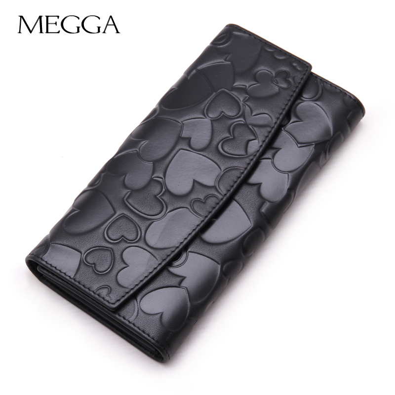 Megga women's long fashion design wallet genuine leather zipper wallet fashion heart wallet black(China (Mainland))