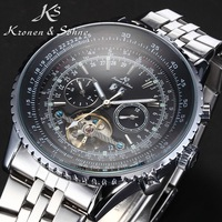 KS Black Dial 6 Hands Date Day Tourbillion Analog Stainless Full Steel Strap Wrist Dress Auto Men's Mechanical Watch / KS084