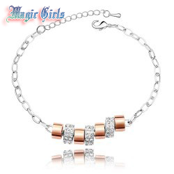 Free Shipping Christmas Gift Graceful 9 rings Austria Crystal Bracelet Magic Girls shop Bracelet 8b11(China (Mainland))