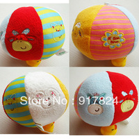 Free shipping ELC Infant baby soft plush colorfull ball toy within bell 3 designs Blossom Farm Chime Ball