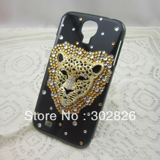 Bling Diamond Leopard Head Case Cover For Samsung Galaxy SIIII S4 i9500(China (Mainland))