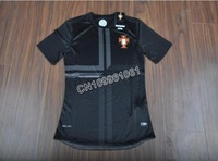 NEW SEASON!!!Portugal Away Black Soccer Jersey 13/14,Player Version Thailand Quality Portugal Soccer Shirt+free Shipping