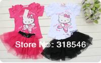 high quality Free shipping 5sets/lot  baby girls summer clothing set hello kitty  t-shirt/top + mesh skirt