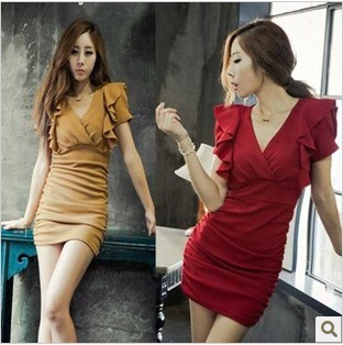 Sexy cross V-neck ruffle tight-fitting slim hip evening dress formal dress one-piece dress(China (Mainland))