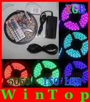 NO Waterproof 5M RGB 5050 SMD150 LED Strips Light +44 Key IR + 12V 3A Power