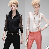FREE SHIPPING women's blouses 2014 New Fashion pellucid gauze long sleeve shirts for women chiffon blouses tops for women tp331