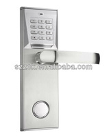 silver password door lock, fingerprint lock
