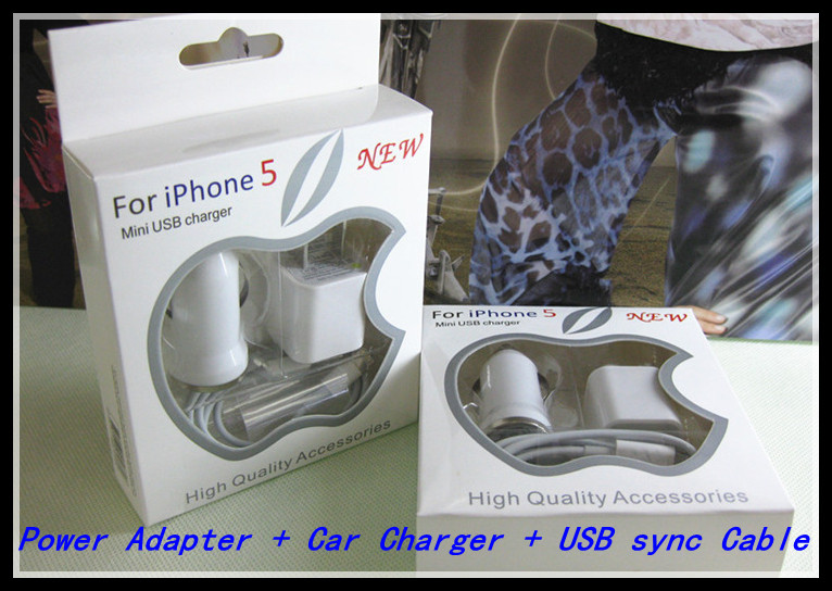 DHL Travel Kit 3 in 1 1000 mah 200PCS AC Power Adapter + 200PCS Car Charger +200PCS USB sync Cable for iphone 5 & Retail Box(China (Mainland))