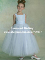 Light Blue Sweet Little Queen Pleat Belt Straps Cheap Flower Girls Dresses for Weddings 2013 LG006
