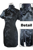 Black Traditional Chinese Dress Women's Satin Qipao Mini Cheong-sam Flower S M L XL XXL XXXL 4XL 5XL 6XL J4039
