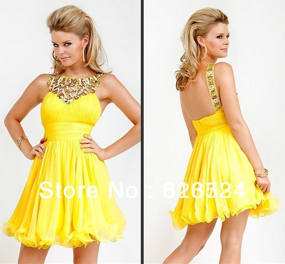Customized Free Shipping 2013 Chiffon Mini Graduation Dresses Short Yellow/Party Dresses/Cocktail Dresses(China (Mainland))