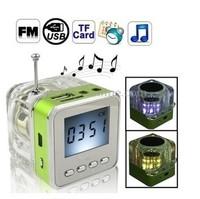 NiZHi TT028 transparent mini speaker with FM radio LED Screen ,TT-028 Micro SD/TF USB Disk Speaker for MP3/4 30pcs FREE DHL SHIP