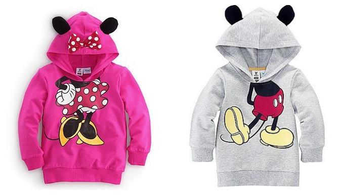 Bebé adorable sudaderas con capucha/2 diseños: el ratón mickey y minnie mouse baby sudaderas con capucha/de bebé de moda ropa