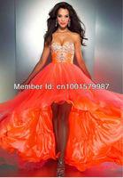 Custom Fashionable Style Beaded Sweetheart Orange Pregnant High Low Prom Dress 2013 Free Shipping
