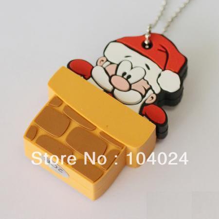 Fast ship 4gb 8gb 16gb 32gb father christmas Santa Claus in chimney wall USB 2.0 flash drive memory pen disk(China (Mainland))