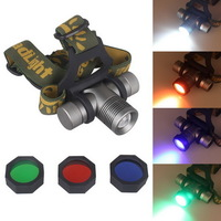 5pcs/Lot Green Blue Red Filters Portable CREE Q5 LED 5W Headlamp Headlight 4200mAh Rechargeable for Hunting Fishing Camping
