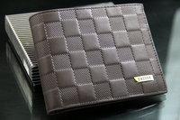 2013 NEW  fashion Men leisure business Short  Plaid   Genuine  PU+ leather  Wallet Card Purse Pocket  free shipping WBG0443